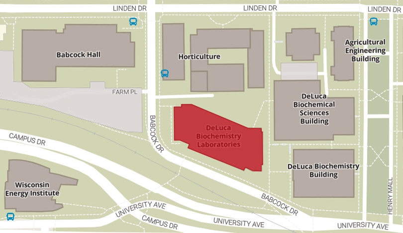 campus map showing HF DeLuca Labs